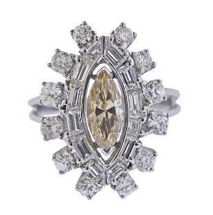 18K Gold Fancy White Diamond Ring