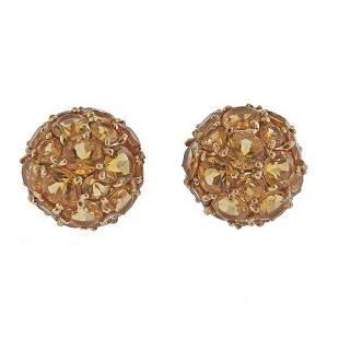 14K Gold Citrine Stud Cluster Earrings