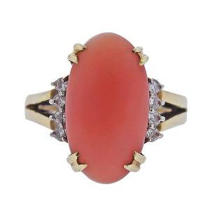 14k Gold Diamond Coral Ring
