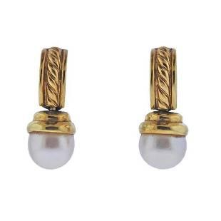 David Yurman 18K Gold Pearl Earrings