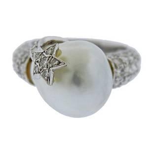 18k Gold Diamond Baroque Pearl Ring