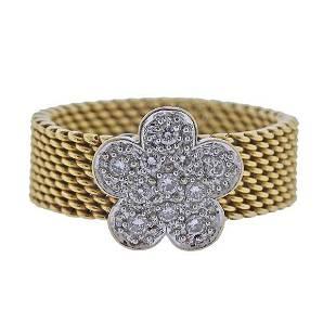 Tous 18K Gold Diamond Flower Band Ring