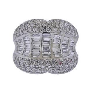 Platinum 3.18ctw Diamond Cocktail Ring