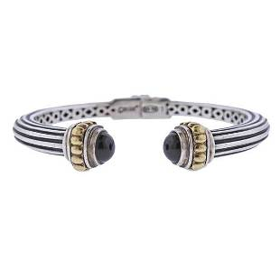 Lagos Caviar Silver 18K Gold Onyx Cuff Bracelet