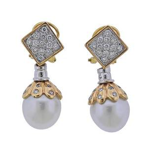 18K Gold Diamond South Sea Pearl Drop Earrings