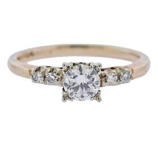 Antique 14k Gold Diamond Engagement Ring