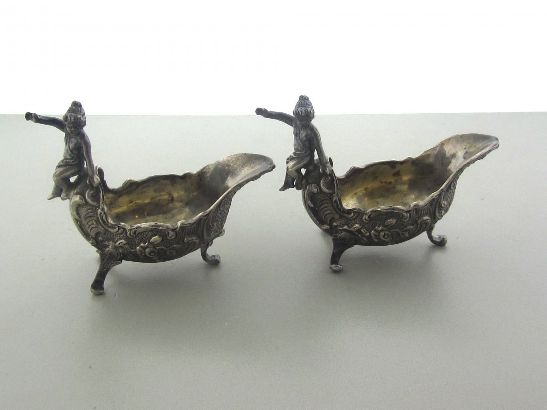 001: Sterling Silver Continantal Salt Cellars (Two)
