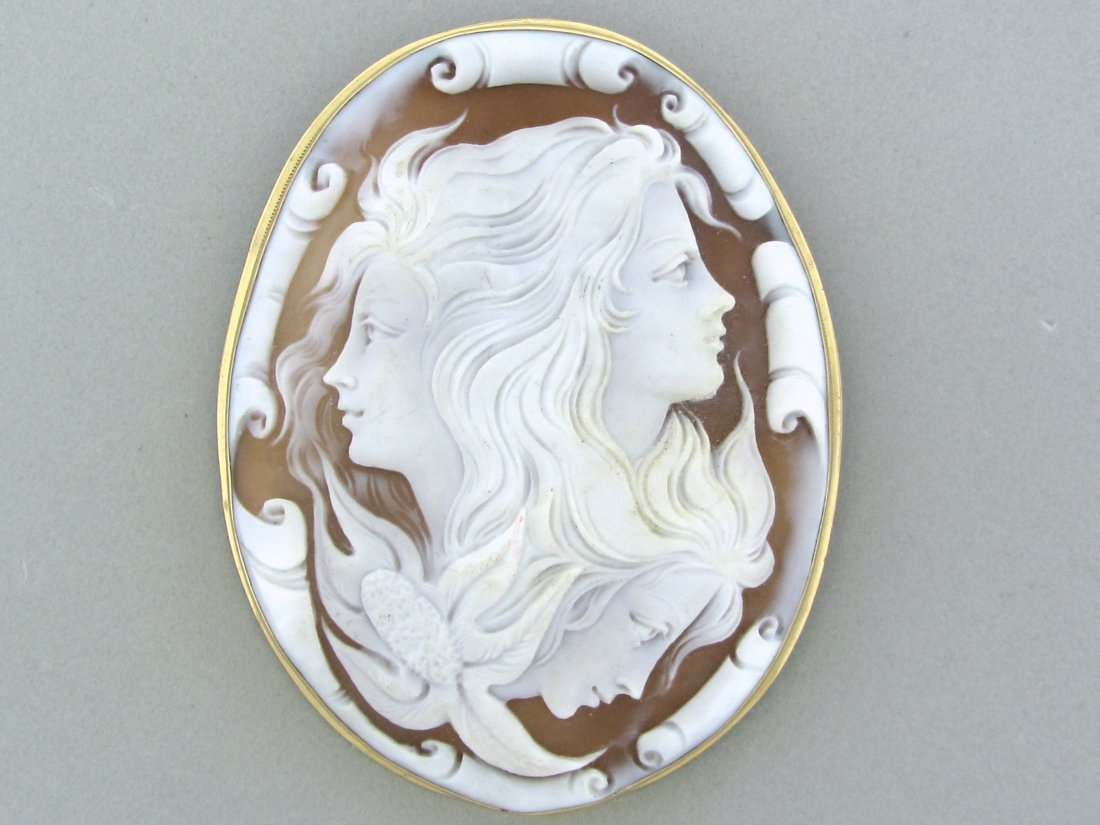 003: Antique 14K Gold Carved Shell Cameo Brooch Pin Pen