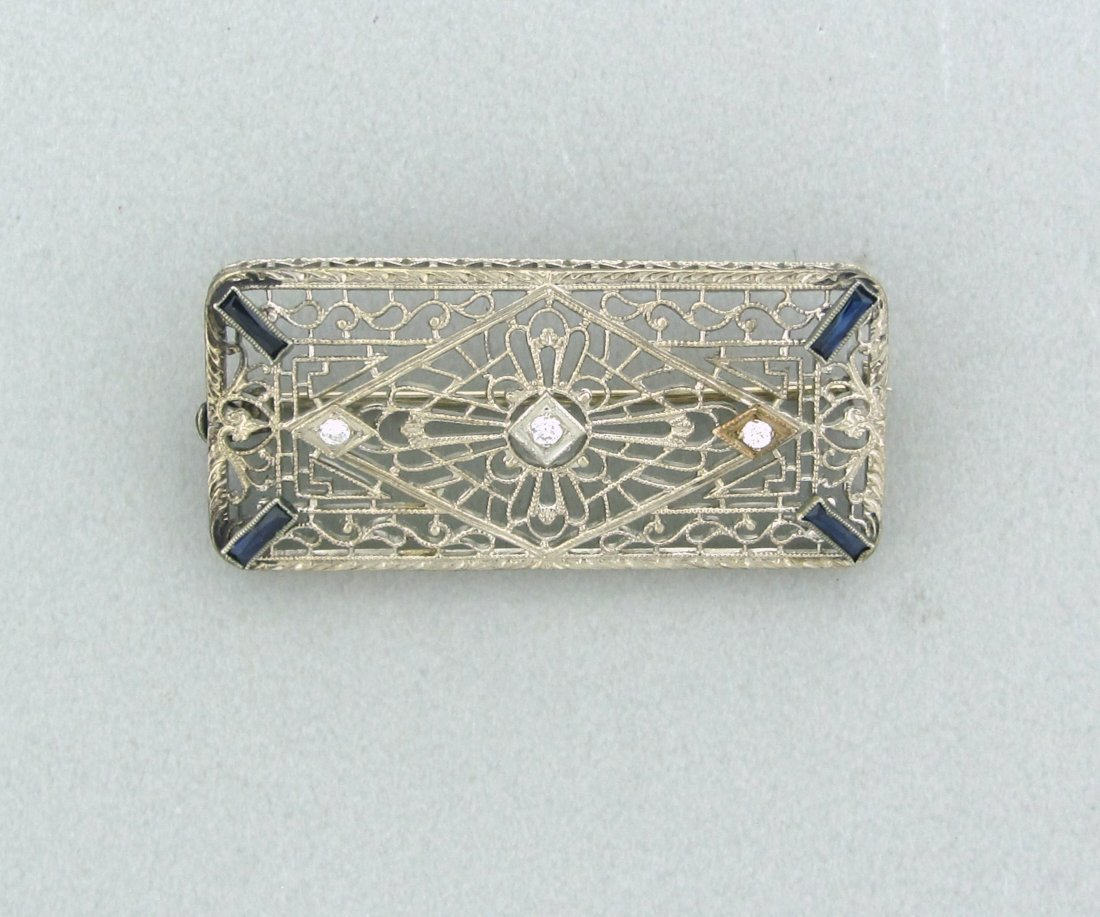 004: Art Deco 14k Gold Diamond Sapphire Brooch Pin