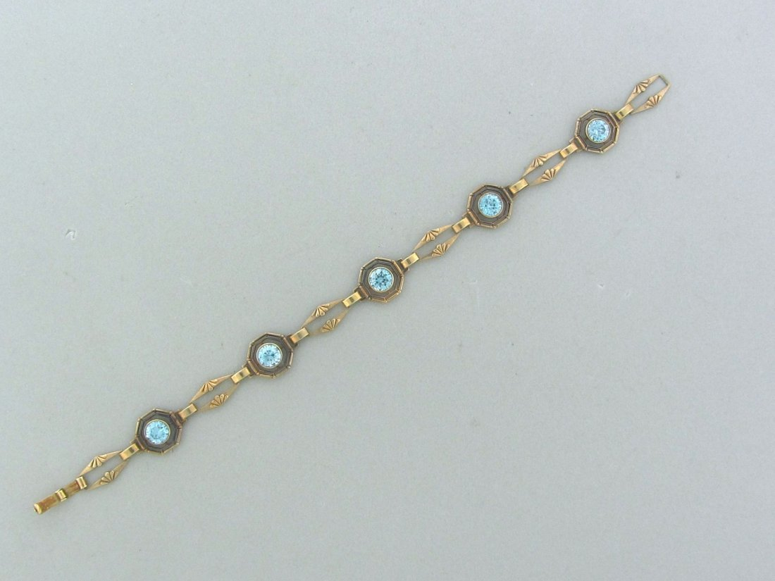 008: Art Deco 10k Gold Blue Zircon Bracelet