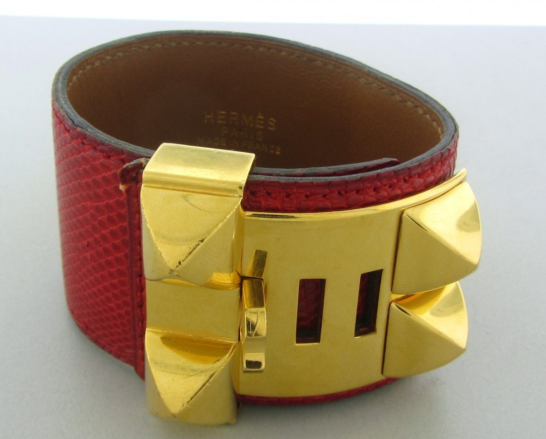 017: Signed Hermes Gold Tone Metal Red Leather Bracelet
