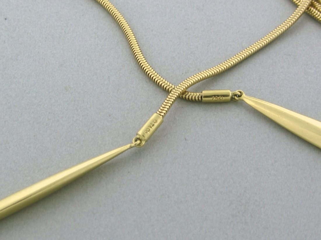 247: Tiffany & Co Feather Lariat 18k Gold Necklace - 2