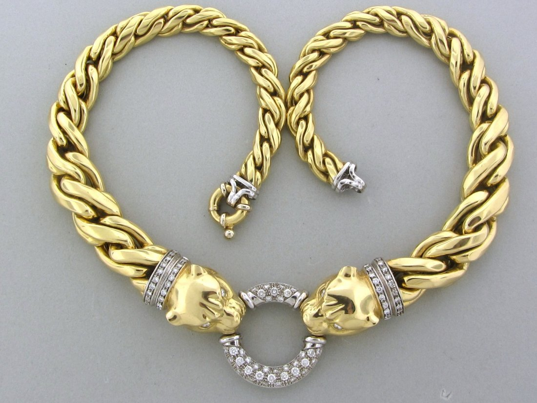 301: Impressive 18k Gold Diamond Panther Necklace 104g