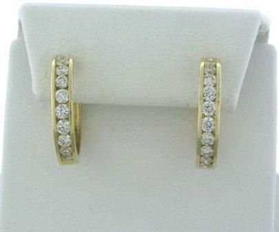 002: Estate 14k Gold 2.00ctw  Diamond Hoop Earrings