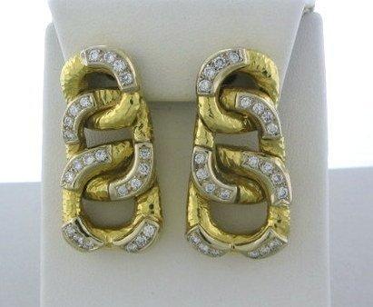 005: 1970s Lg Estate 18k Gold 2.20ctw Diamond Earrings