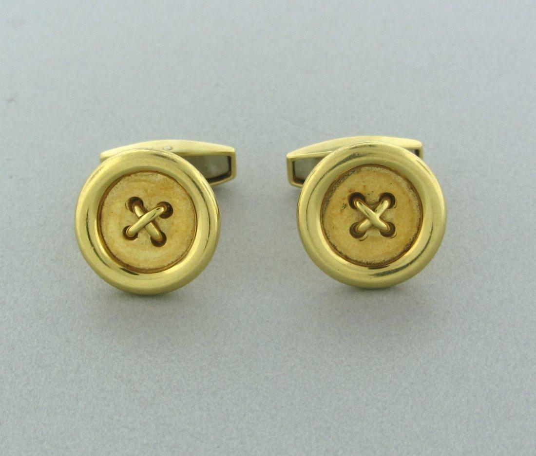 007: Estate Asprey 18k Gold Button Cufflinks
