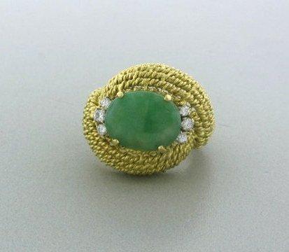 008: Estate 18k Gold Diamond Jade Ring