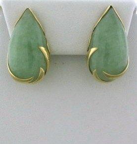 009: Estate 14k Gold Jade Teardrop Earrings