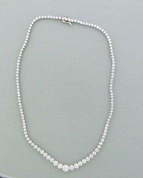 011: Estate 18k Gold 14.5ctw Diamond Riviera Necklace