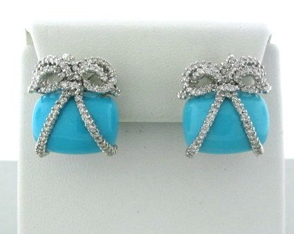 013: Estate 18k Gold Turquoise 1.60ctw Diamond Earrings