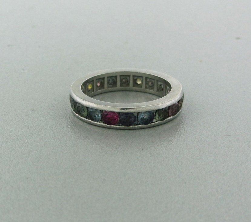 017: 18k Gold Multi Color Sapphire Eternity Ring Band