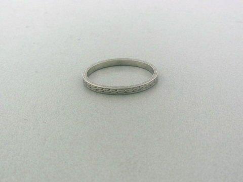 018: Art Deco Platinum Wedding Band Ring