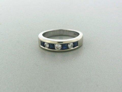 019: Estate 14k Gold Diamond Sapphire Ring