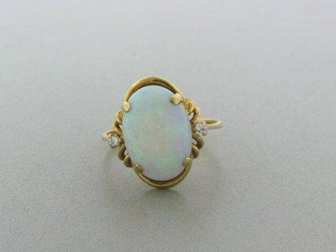 021: Estate 14k Gold Diamond Opal Ring