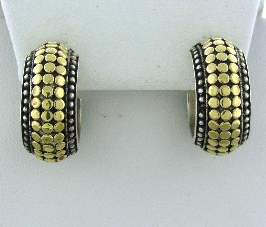 023: John Hardy Sterling Silver 18k Gold Dots Hoop Earr