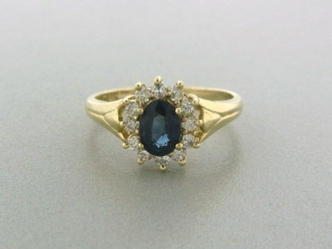 024: 14k Gold Diamond Sapphire Ring