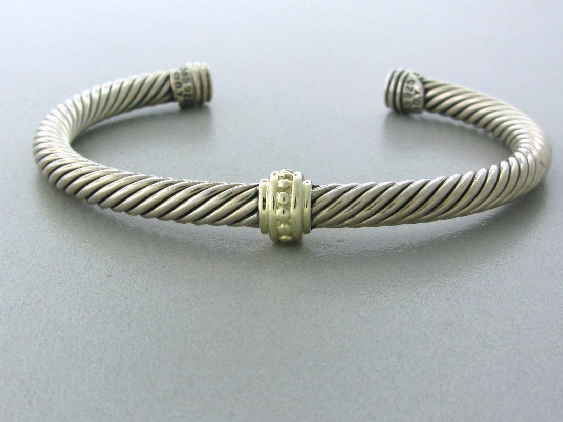 001: David Yurman Sterling 14k Gold Cable Cuff Bracelet