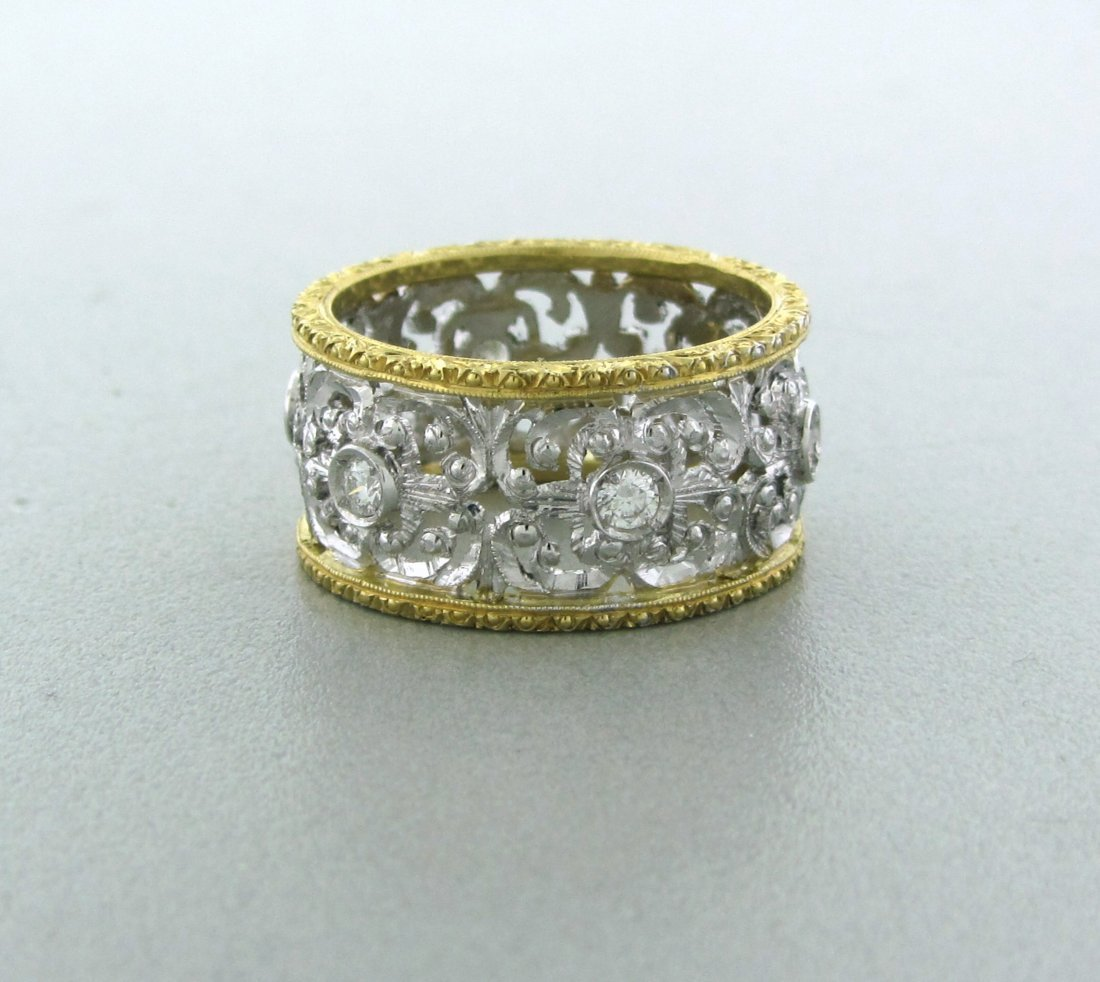 002: Antique 18k Gold Diamond Wide Band Ring