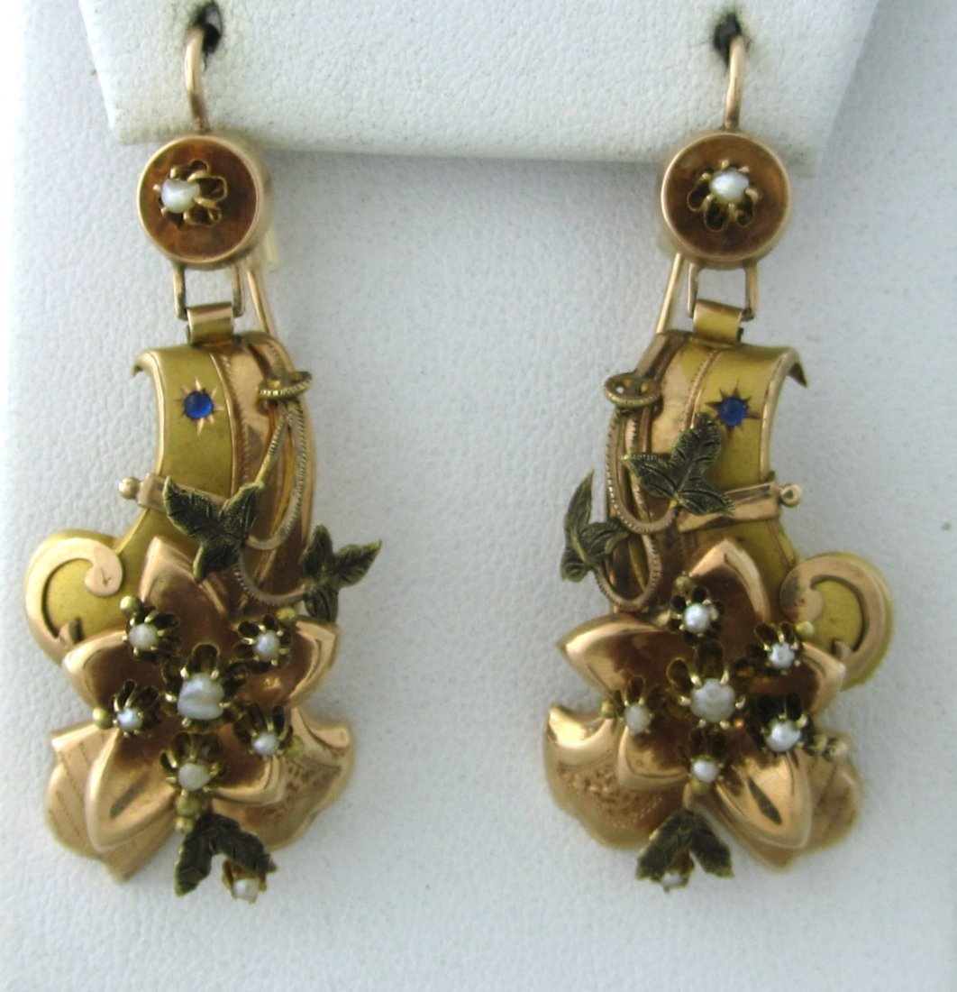 005: Antique Gold Pearl Earrings