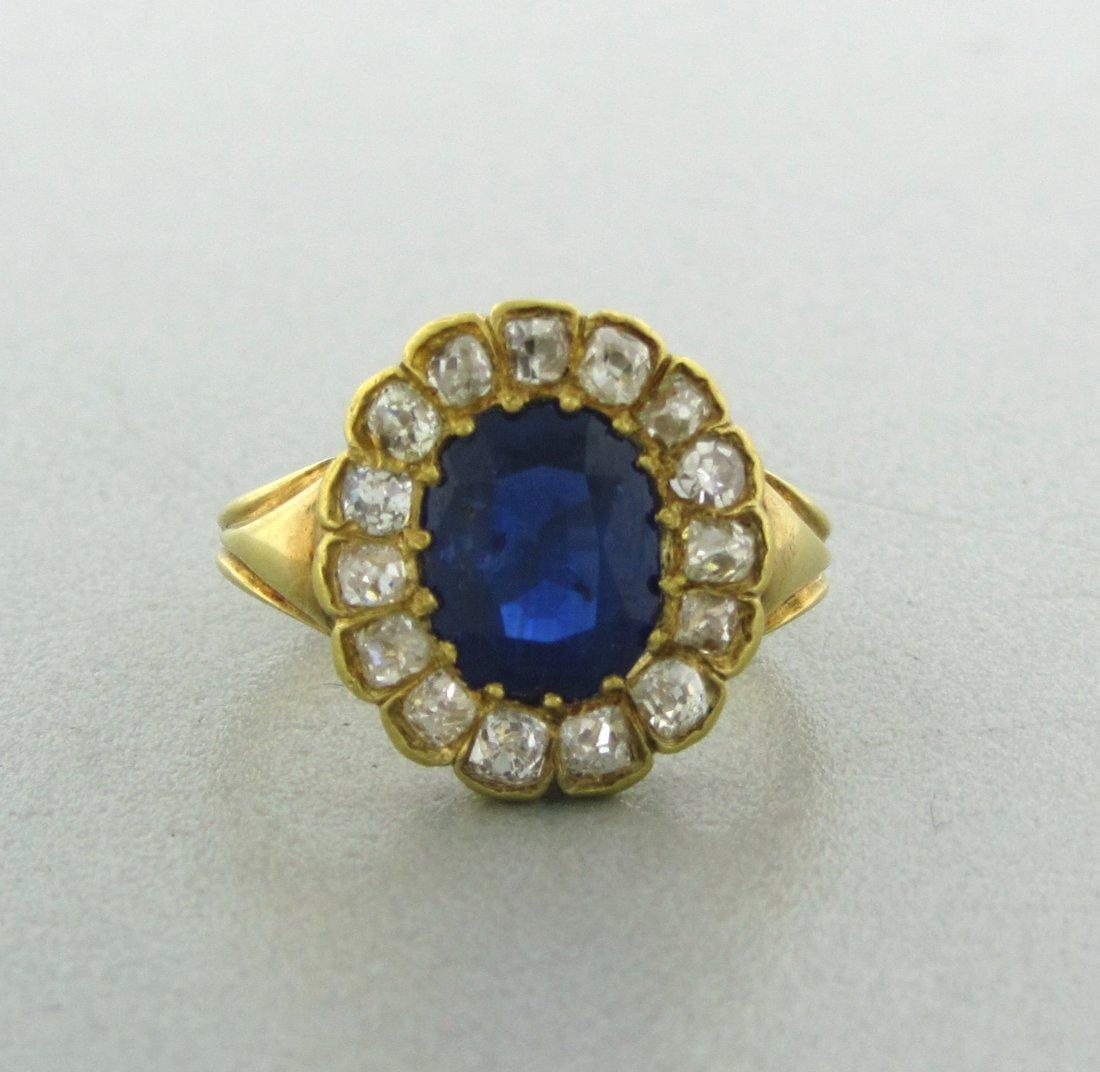 006: Antique 18k Gold Diamond 2.00ctw Sapphire Ring