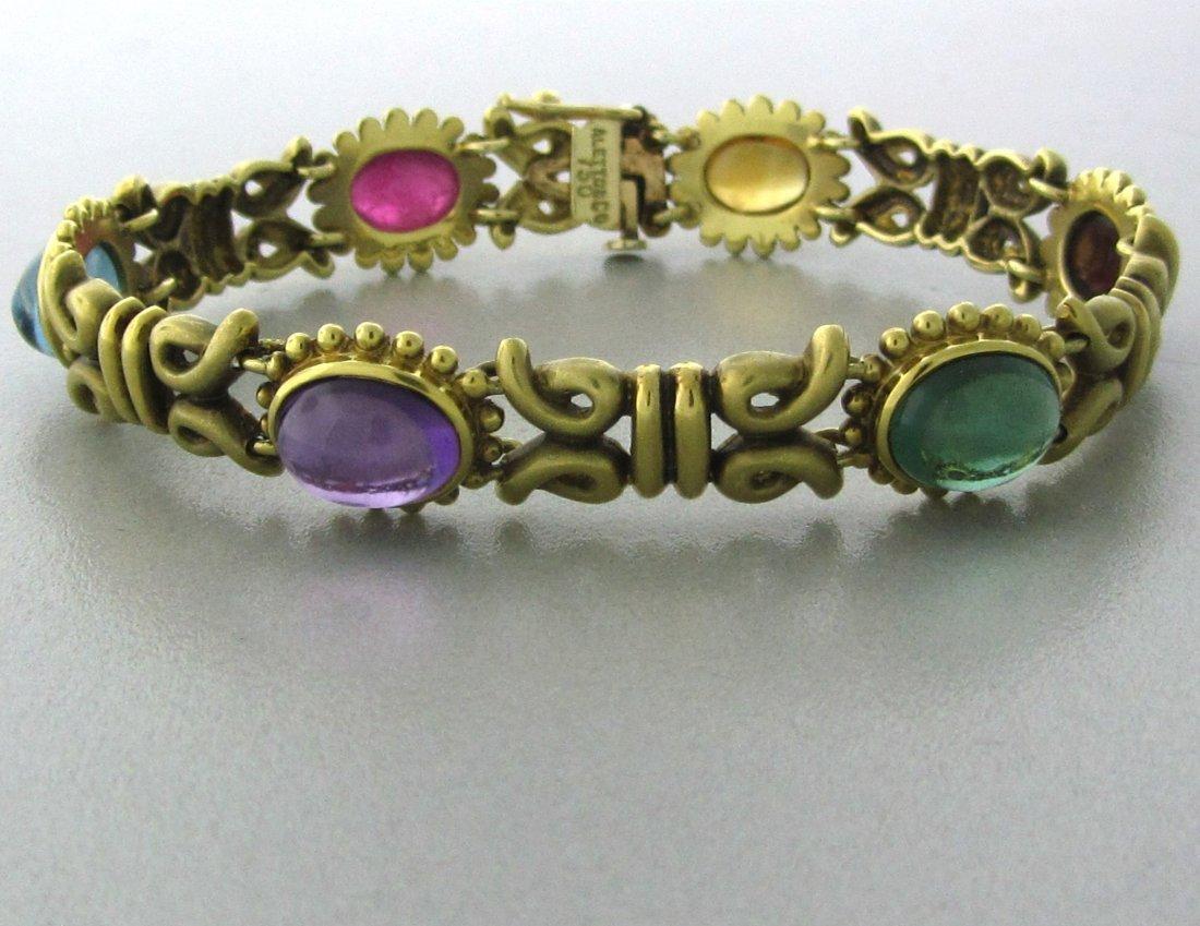 008: Aletto & Co 18k Gold Multi Color Gemstone Bracelet