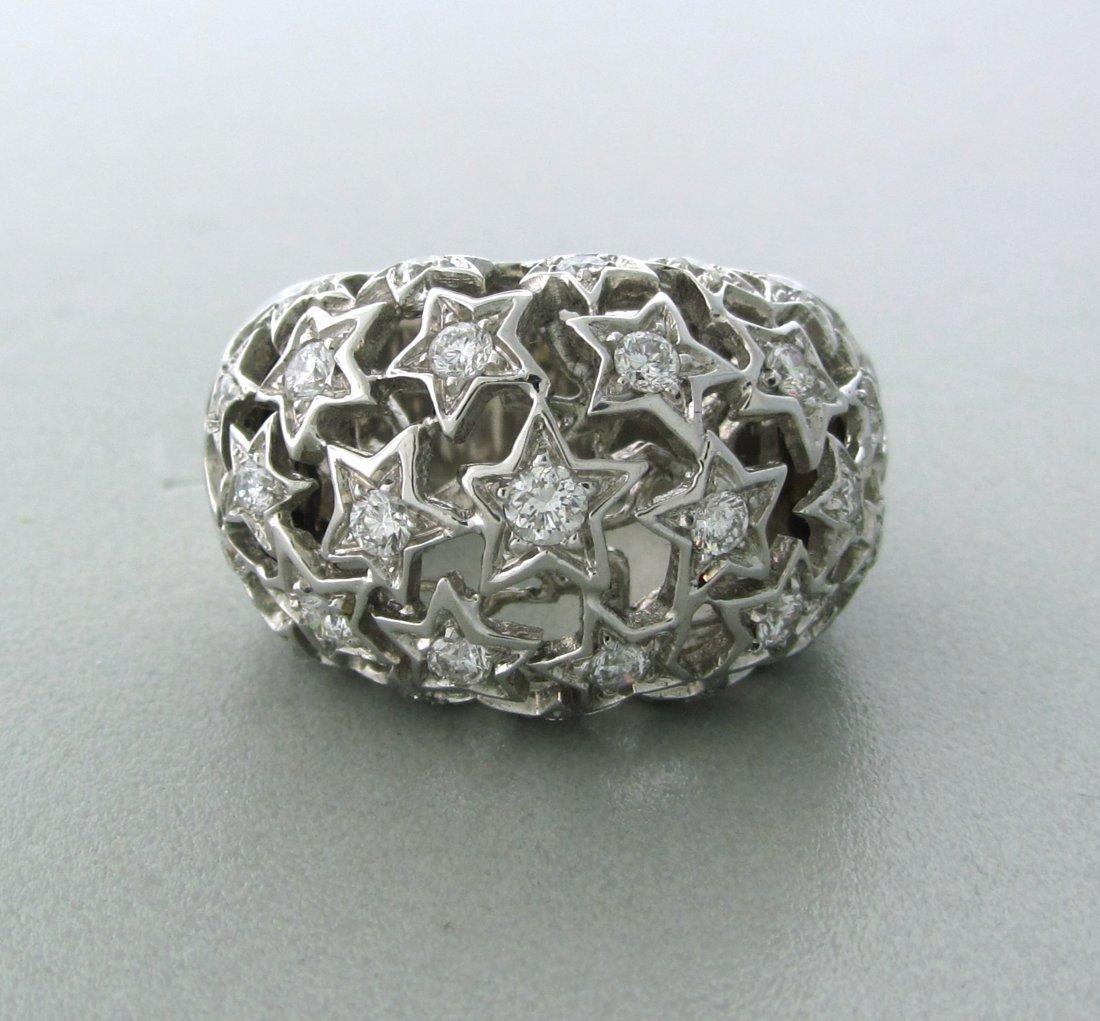 010: Modern 18k Gold Diamond Star Dome Ring