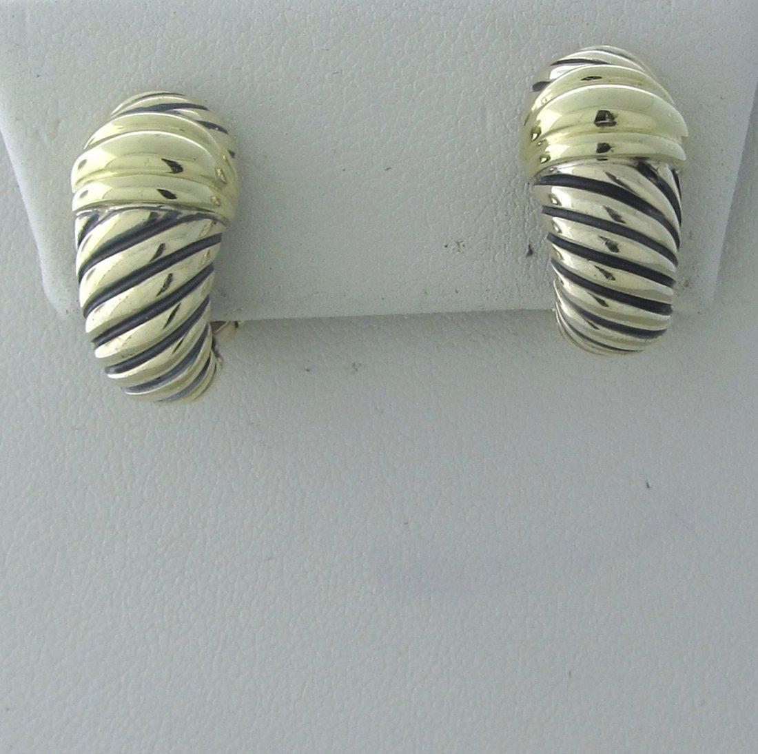 011: David Yurman Sterling 14k Gold Cable Earrings