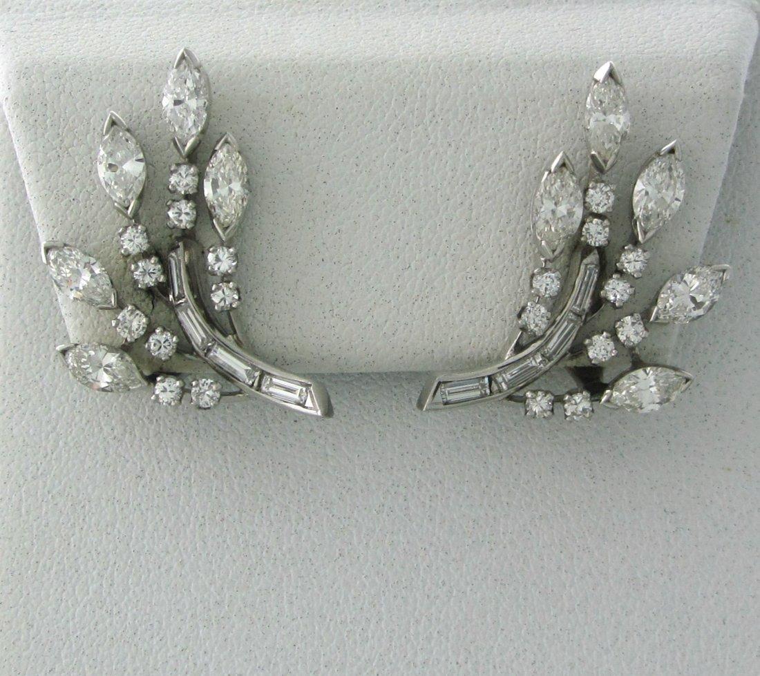 012: 1950s Platinum 2.75ctw Diamond Earrings