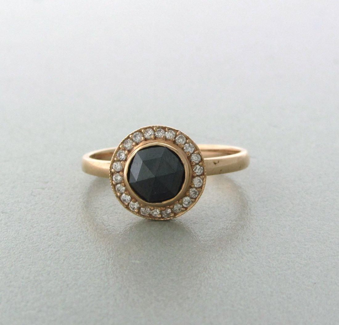 013: Modern 14k Gold Black Diamond Ring