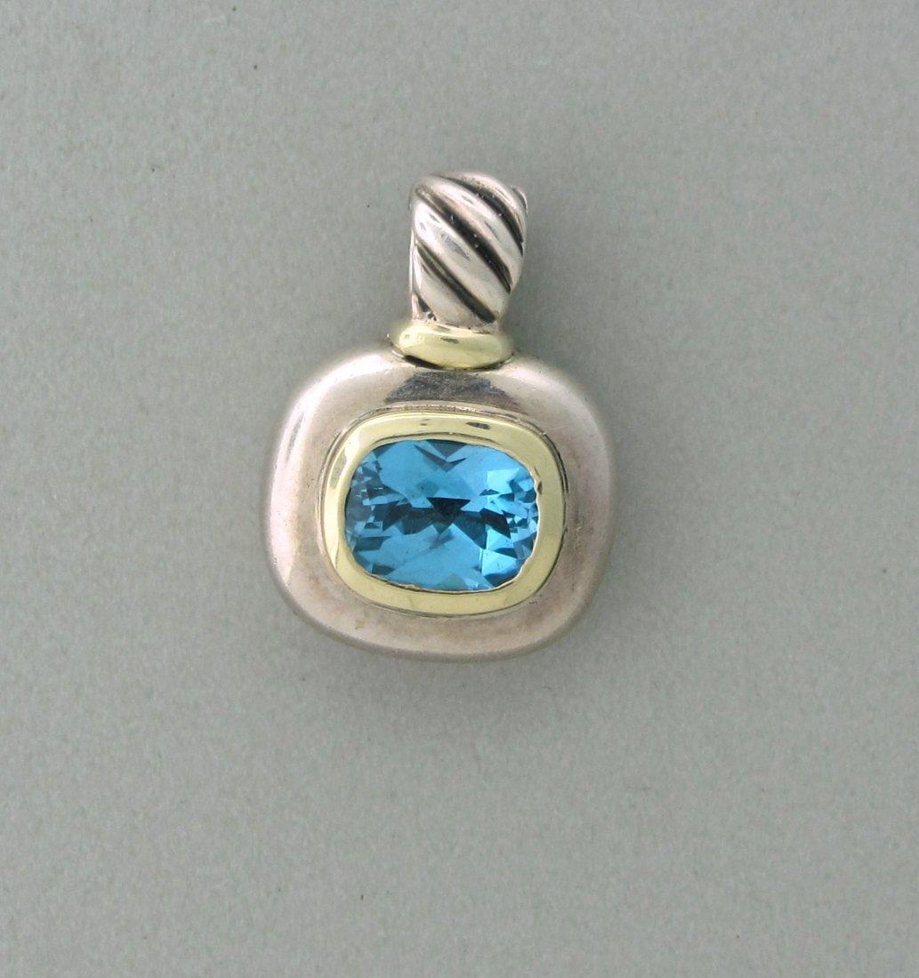 014: David Yurman Sterling 14k 18k Gold Topaz Pendant