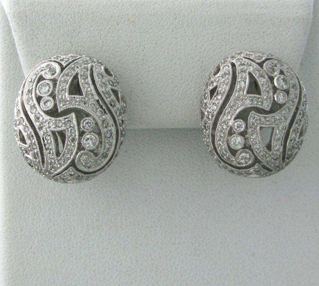 015: Modern 18k Gold 2.13ctw Diamond Oval Earrings