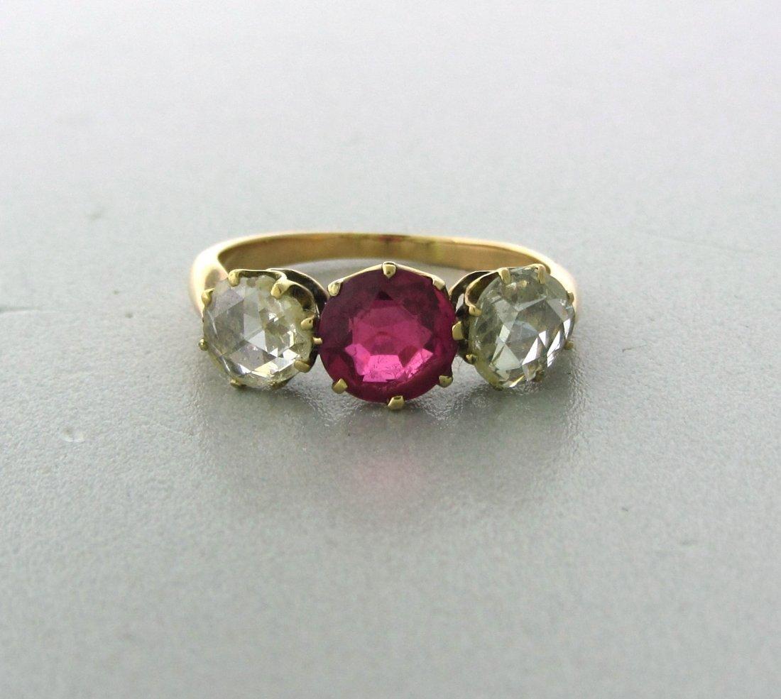 016: Antique 18k Gold Rose Cut Diamond Gemstone Ring