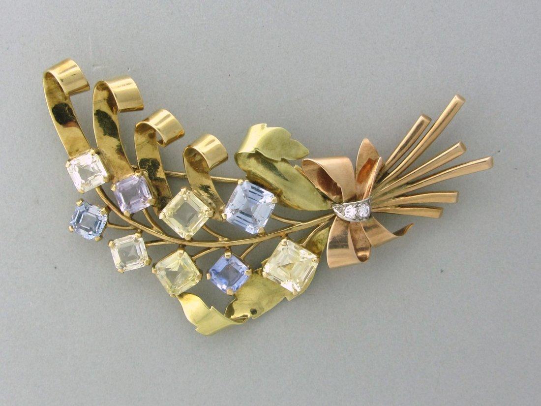 017: Retro 14k Yellow Rose Gold Sapphire Diamond Brooch