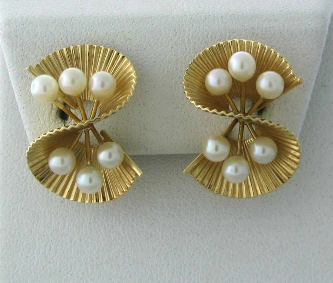 020: 1940s Retro Cartier 14k Gold Pearl Earrings