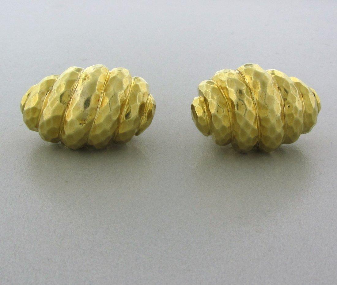 021: Henry Dunay 18k Gold Hammered Finish Cufflinks