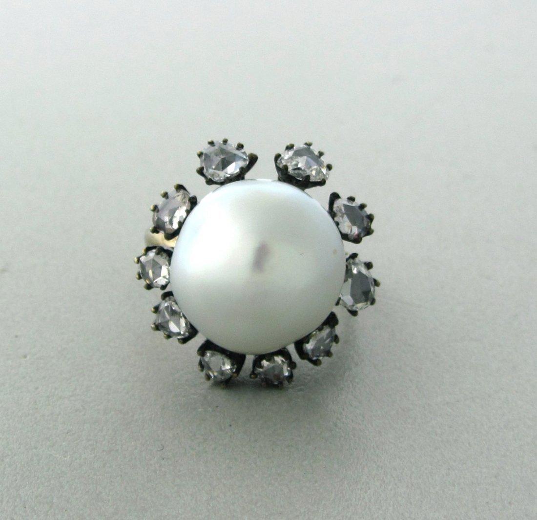 022: Antique 18k Gold Rose Cut Diamond 15mm Pearl Ring