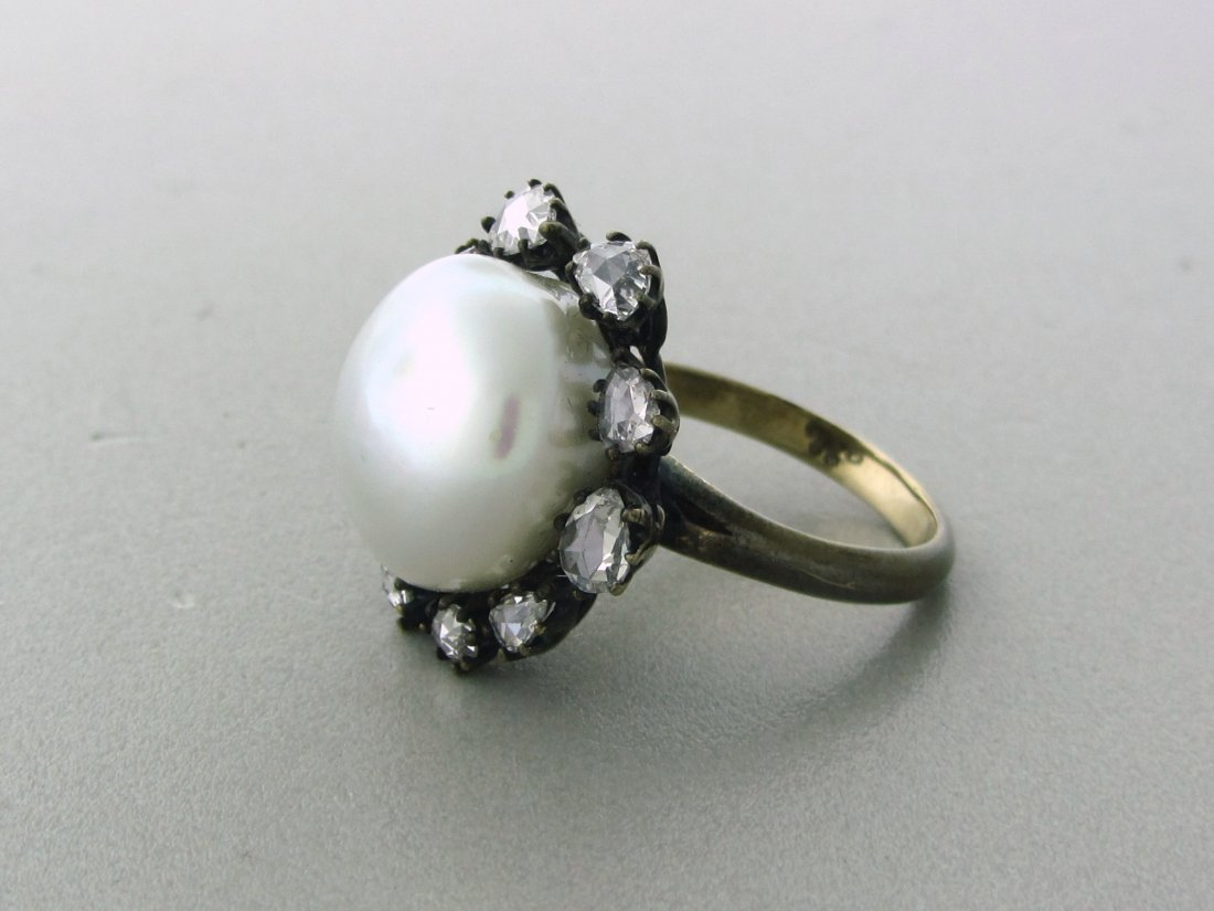 022: Antique 18k Gold Rose Cut Diamond 15mm Pearl Ring - 2