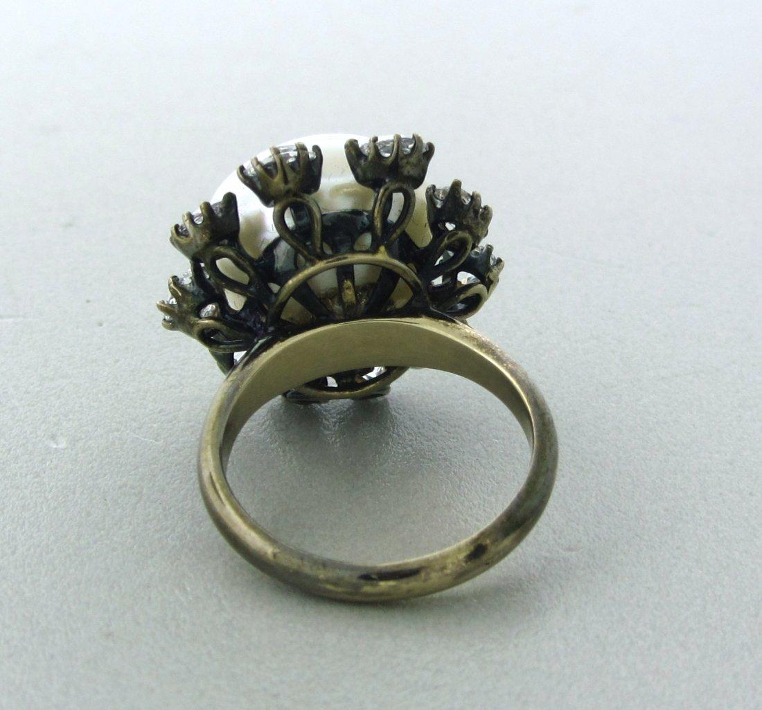 022: Antique 18k Gold Rose Cut Diamond 15mm Pearl Ring - 3