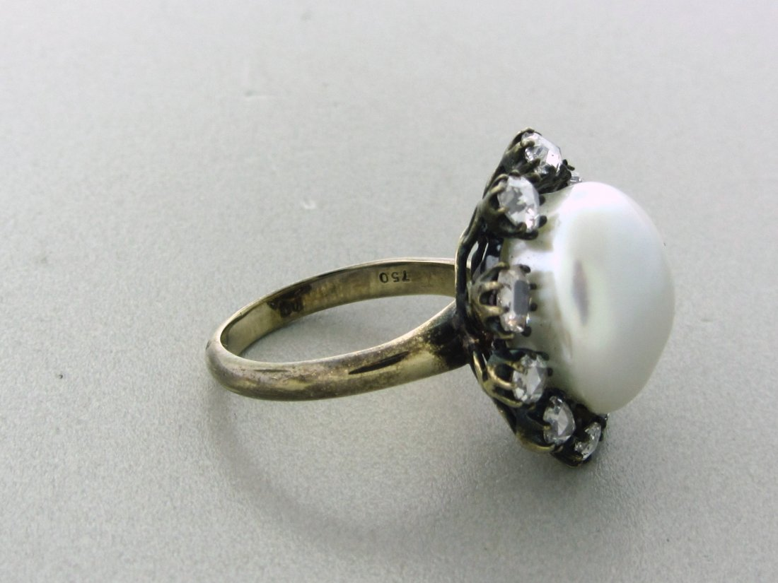 022: Antique 18k Gold Rose Cut Diamond 15mm Pearl Ring - 4