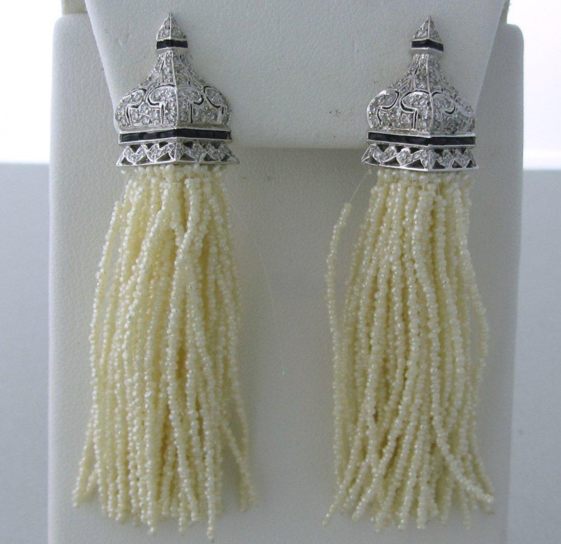 023: 18k Gold Diamond Enamel Seed Pearl Long Earrings